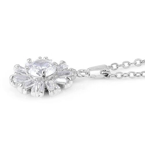 AAA Simulated White Diamond Floral Pendant With Chain and Earrings (with Clasp) in Silver Plated