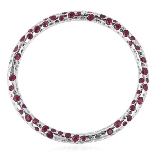 RACHEL GALLEY African Ruby (Ovl and Rnd) Bangle (Size 7.5) in Rhodium Overlay Sterling Silver 18.770 Ct, Silver wt 18.76 Gms.