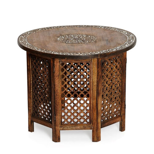 NAKKASHI - Hand Carved Solid Mango Wood Round Table in Natural Finish (Size 51x68 Cm) with Jali Knoc