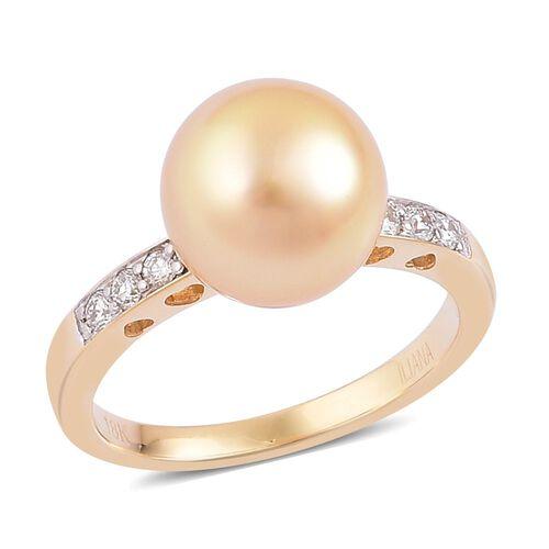 ILIANA AAA South Sea Golden Pearl and Diamond Ring in 18K Yellow Gold