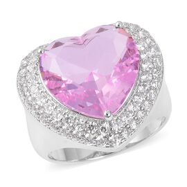 13.79 Ct Simulated Pink Sapphire and Simulated Diamond Heart Halo Ring