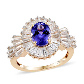 4.5 Ct Tanzanite and Cambodian Zircon Halo Ring in 9K Gold 2.57 Grams