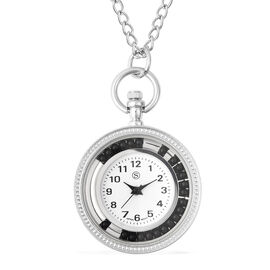 STRADA Japanese Movement Pocket Watch with Chain (Size 30) and Moving Black Agate Beads Around the D