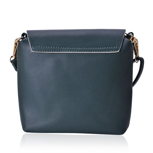 Dark Green Colour Crossbody Bag With Adjustable and Removable Shoulder Strap (Size 18x18x5 Cm)