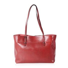 Close Out Deal 100% Genuine Leather Berry Travel Size Tote with External Zipper Pocket (Size 43x37x2