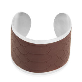 Burgundy Leather Cuff Bangle (Size 7.5) in Stainless Steel