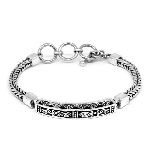 Royal Bali Collection Sterling Silver Tulang Naga Bracelet (Size 7 with 1 inch Extender), Silver wt 24.88 Gms.