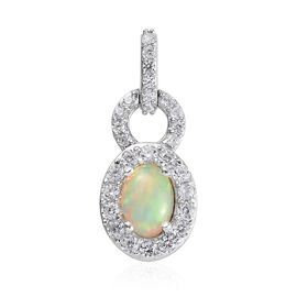 Ethiopian Welo Opal (Ovl), Natural Cambodian Zircon Pendant  in Platinum Overlay Sterling Silver