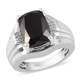 Elite Shungite and Natural Cambodian Zircon Ring in Platinum Overlay Sterling Silver 4.90 Ct, Silver