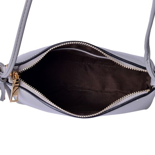 Grey Colour Crossbody Bag with Tassels and Shoulder Strap (Size 20x15x7.5 Cm)