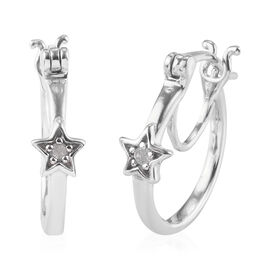 Diamond Star on Hoop Earrings (with Clasp) in Platinum Overlay Sterling Silver