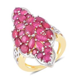 9.50 Ct African Ruby Cluster Ring in Gold Plated Sterling Silver 9.29 Grams