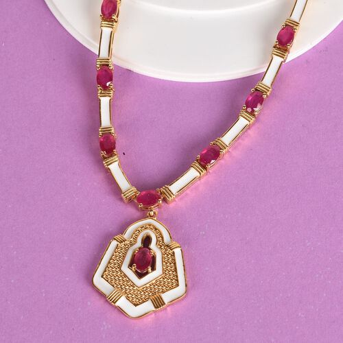 Limited Edition- African Ruby Enamelled Necklace (Size 18) in 14K Gold Overlay Sterling Silver 16.25 Ct, Silver wt 26.44 Gms