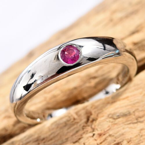 RHAPSODY 950 Platinum AAAA Burmese Ruby (Rnd) Band Ring 0.15 Ct, Platinum wt 6.20 Gms