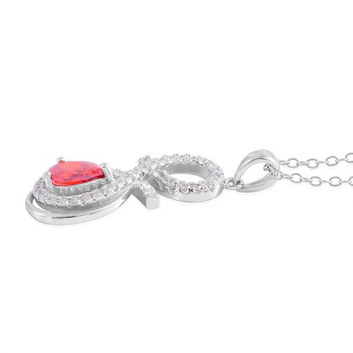 ELANZA AAA Simulated Garnet (Pear), Simulated White Diamond Pendant With Chain in Rhodium Plated Sterling Silver