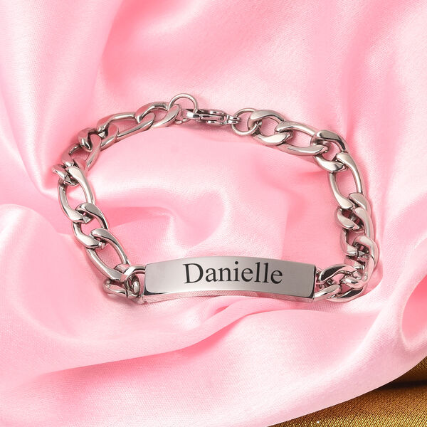 Personalised Engraved Mens ID Figaro Chain Bracelet Size 7Inch