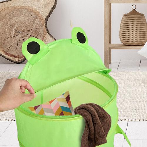 Set of 2 Cute Frog Cartoon Animal Folding Basket in Green (38x58cm)
