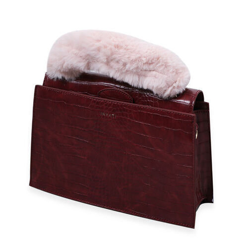 Inyati Olivia Croco Handbag with Removable Faux Fur Handle - Burgundy