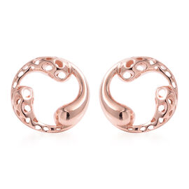 RACHEL GALLEY Rose Gold Overlay Sterling Silver Latticework Stud Earrings (with Push Back)