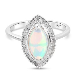 Ethiopian Welo Opal and Diamond Ring in Platinum Overlay Sterling Silver 1.50 Ct.