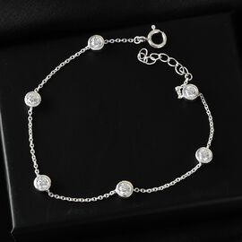 J Francis Sterling Silver Bracelet (Size - 8.5) Made with SWAROVSKI ZIRCONIA 2.79 Ct.