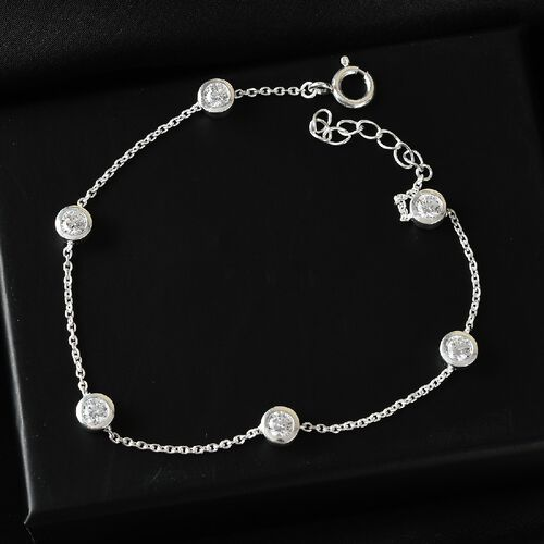 J Francis Sterling Silver Bracelet (Size - 8.5) Made with SWAROVSKI ZIRCONIA 2.79 Ct.