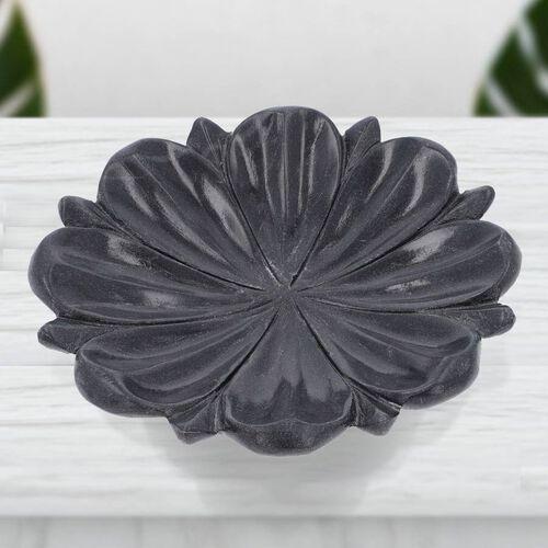 NAKKASHI Hand Carved Lotus-Design Marble Bird Feeder/Bath Bowl - Black