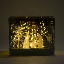 Home Decor Glass Table Decoration With Yellow Light Nativity (Size 18x15x6 Cm) Silver Grey Colour
