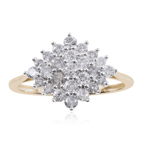 1 Carat Diamond Cluster Boat Ring in 9K Yellow Gold SGL Certified I3 GH