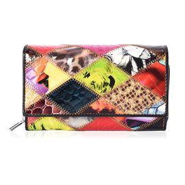 Close Out Deal- Multi Colour Applique Work Wallet (Size 15.8x9.5x3 Cm)