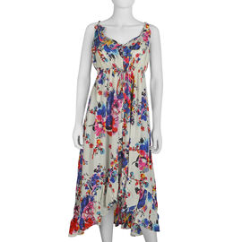 Floral Screen Printed Free Size Dress with Drawstring Over Waistline - White and Multicolour