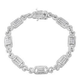 ELANZA Simulated Diamond Bracelet in Rhodium Plated Sterling Silver 13.17 Grams 6.75 Inch