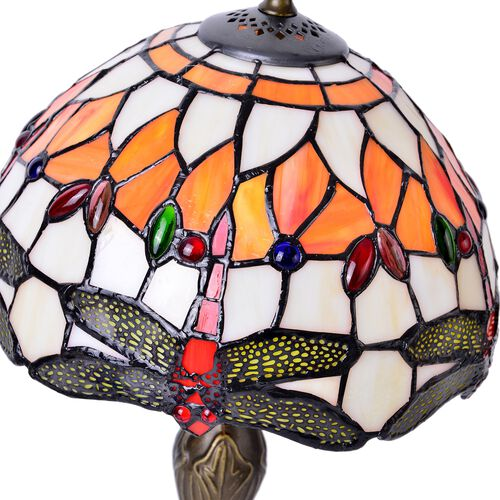 Luxury Edition - Tiffany Style Table Lamp with Stained Glass Mosaic Shade and Dragonfly Design (Size 25 cm diameter x 40 cm H)