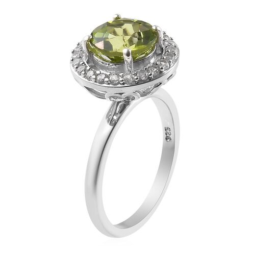Hebei Peridot (Rnd), Natural Cambodian Zircon Ring in Platinum Overlay Sterling Silver 2.12 Ct.