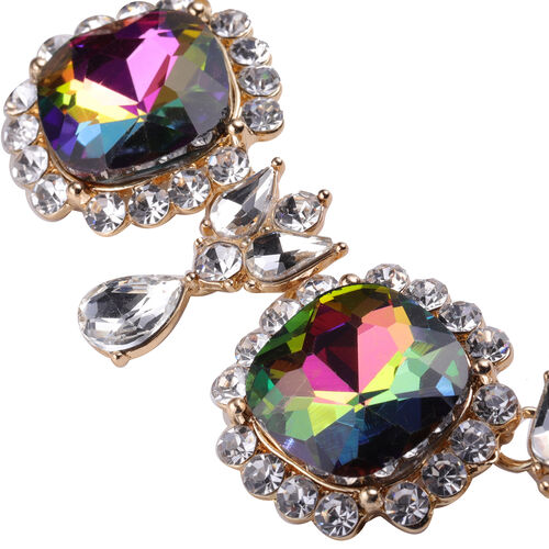 2 Piece Set - Simulated Mystic Topaz, Simulated Diamond and White Austrian Crystal Stud Earrings and Adjustable Necklace (Size 18-22) in Gold Tone