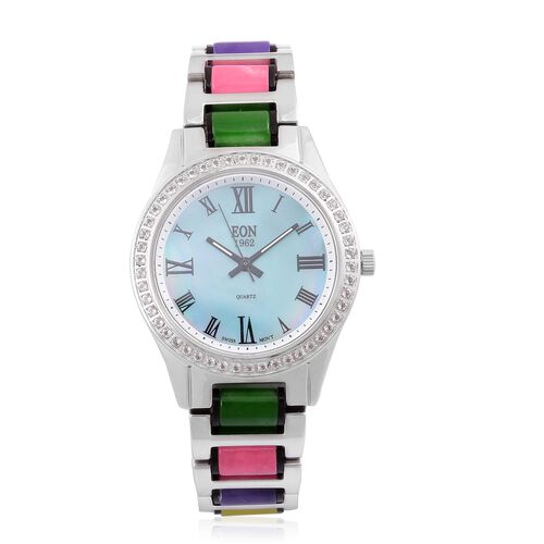 EON 1962 - Swiss Movement Multi Colour Jade, White Topaz and MOP Watch