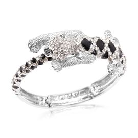 Black and White Austrian Crystal (Rnd) Enamelled Panther Bangle (Size 6.5-7.5 Adjustable) in Silver