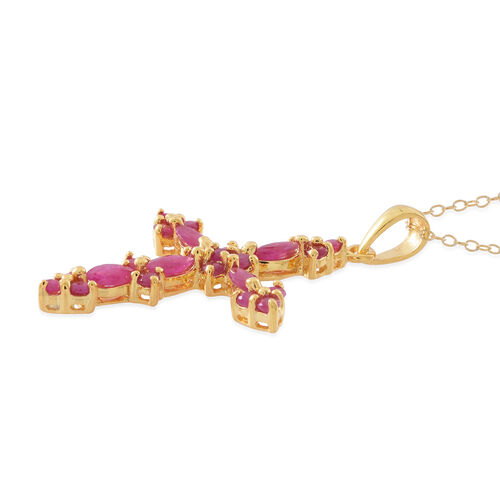 Burmese Ruby (Mrq) Cross Pendant with Chain in 14K Gold Overlay Sterling Silver 2.000 Ct.