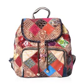 Morocco Collection100% Genuine Leather Multi Colour Blocking Backpack with External Zipper Pocket (S