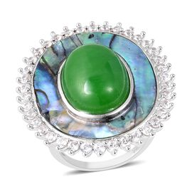 14.50 Ct Green Jade and Multi Gemstone Cocktail Ring in Rhodium Plated Sterling Silver