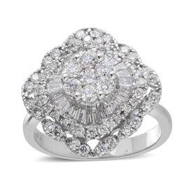 1.4 Ct Diamond Cluster Ring in 14K White Gold 5.9 Grams I1-I2 GH