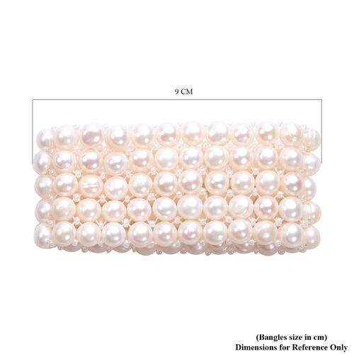 Freshwater White Pearl and Simulated White Diamond Stretchable Bracelet