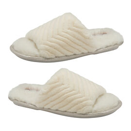 Dunlop Phoebe Ladies Memory Foam Faux Fur Lined Slip On Mule Slippers in Cream Colour