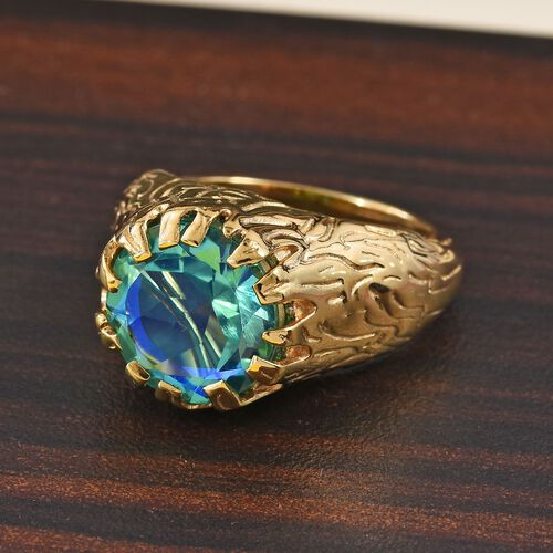 Peacock Quartz (Rnd 11mm) Solitaire Ring in 14K Gold Overlay Sterling Silver 4.50 Ct, Silver wt 5.50 Gms