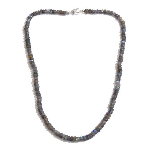 Rare Hand Faceted AAA Labradorite Necklace (Size 20) with Magnetic Clasp in Rhodium Plated Sterling Silver 126.400 Ct.