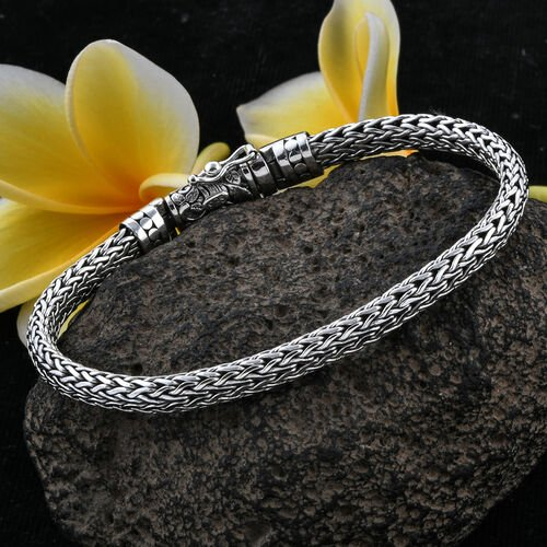 Royal Bali Collection Sterling Silver Tulang Naga Bracelet (Size 7.5), Silver wt 27.40 Gms