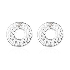 Diamond Circle Stud Earrings in Platinum Plated 925 Sterling Silver  (with Push Back)