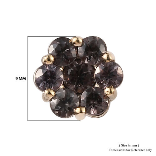 9K Yellow Gold Colour Change Garnet (Rnd) Floral Stud Earrings (with Push Back) 2.25 Ct.