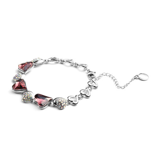 Simulated Tourmaline and Simulated Mystic White Crystal Heart Bracelet (Size 7 with 2.5 inch Extender) in Silver Tone