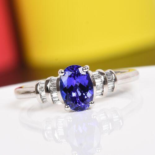 RHAPSODY 950 Platinum AAAA Tanzanite (Ovl) and Diamond (VS/E-F) Ring 1.10 Ct, Platinum wt. 3.95 Gms